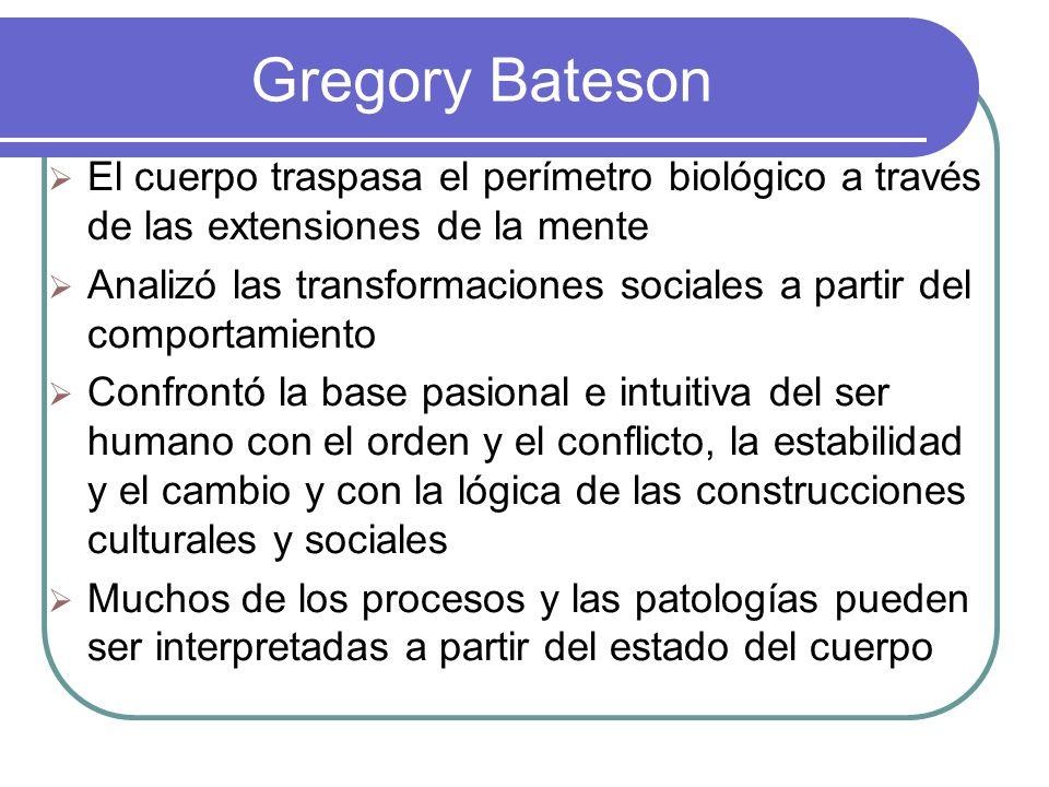 Gregory Bateson El cuerpo traspasa el perímetro biológico a través de las extensiones de la mente.