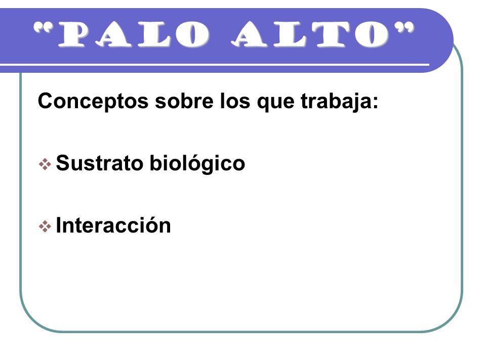 PALO ALTO Conceptos sobre los que trabaja: Sustrato biológico