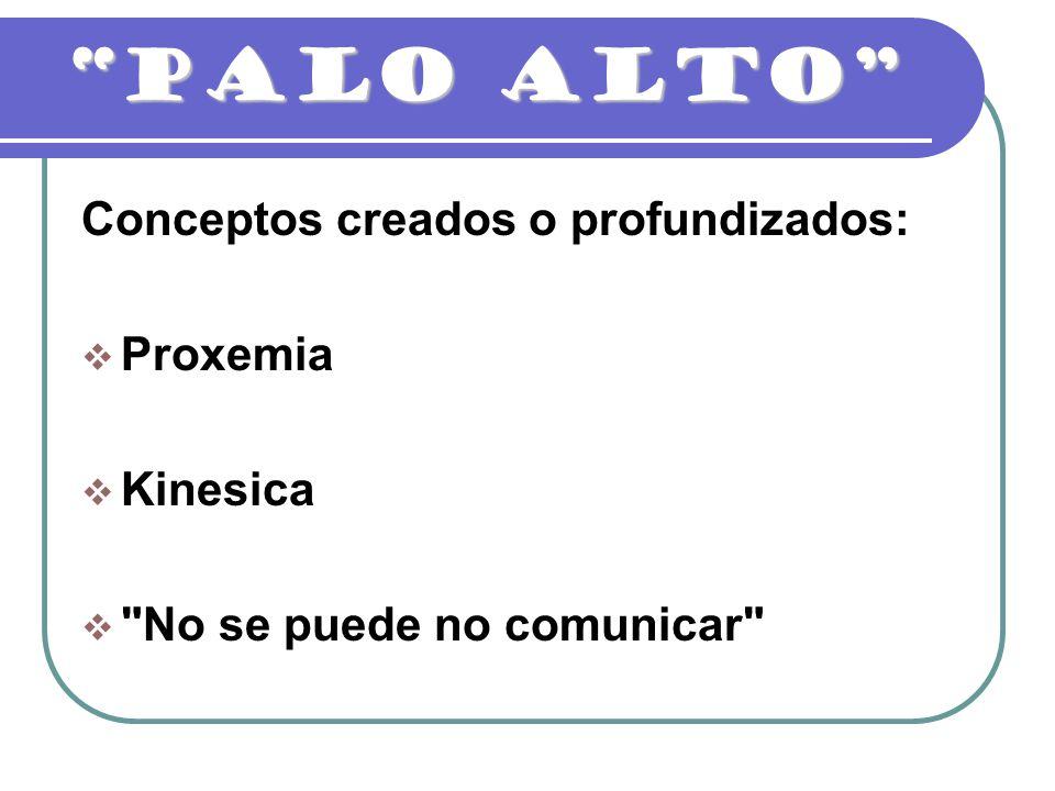 PALO ALTO Conceptos creados o profundizados: Proxemia Kinesica
