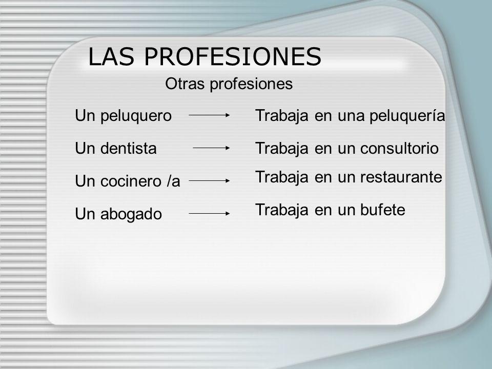 LAS PROFESIONES Otras profesiones Un peluquero