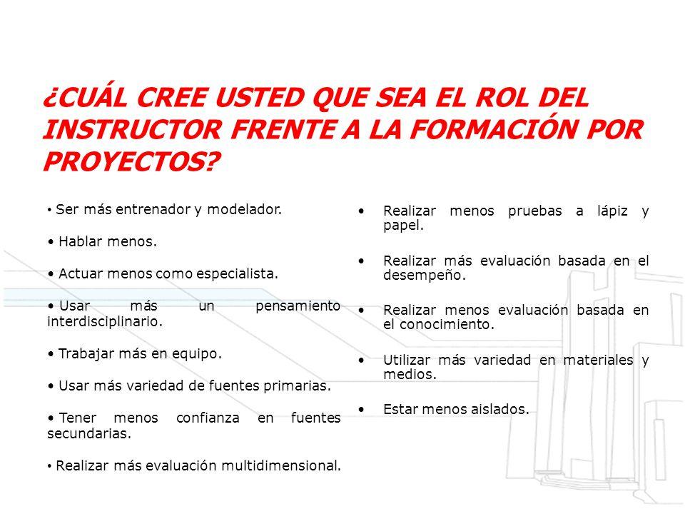 ¿CUÁL CREE USTED QUE SEA EL ROL DEL INSTRUCTOR FRENTE A LA FORMACIÓN POR PROYECTOS