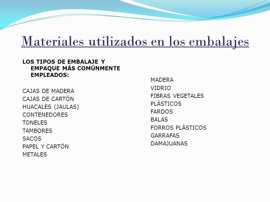 Materiales utilizados en los embalajes