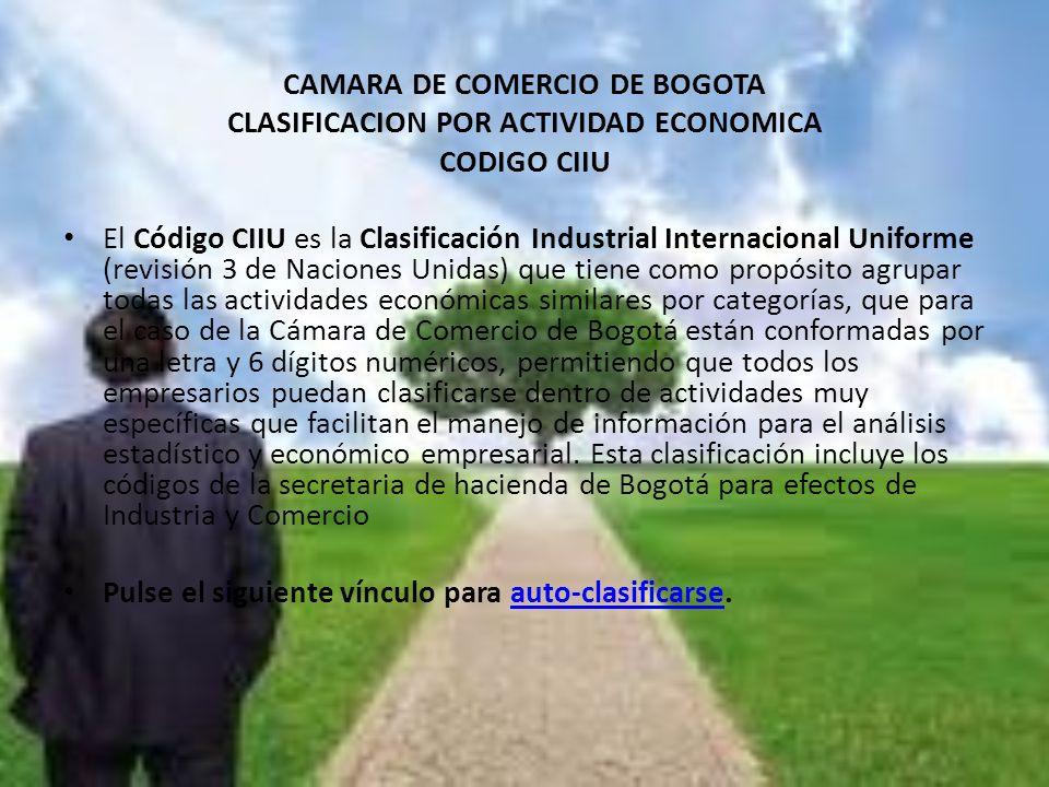 CAMARA DE COMERCIO DE BOGOTA CLASIFICACION POR ACTIVIDAD ECONOMICA