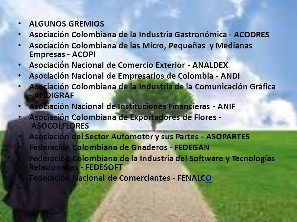 ALGUNOS GREMIOS Asociación Colombiana de la Industria Gastronómica - ACODRES.