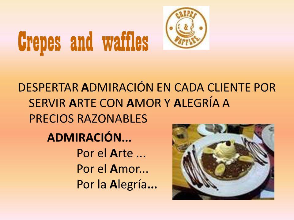 Crepes and waffles DESPERTAR ADMIRACIÓN EN CADA CLIENTE POR SERVIR ARTE CON AMOR Y ALEGRÍA A PRECIOS RAZONABLES.
