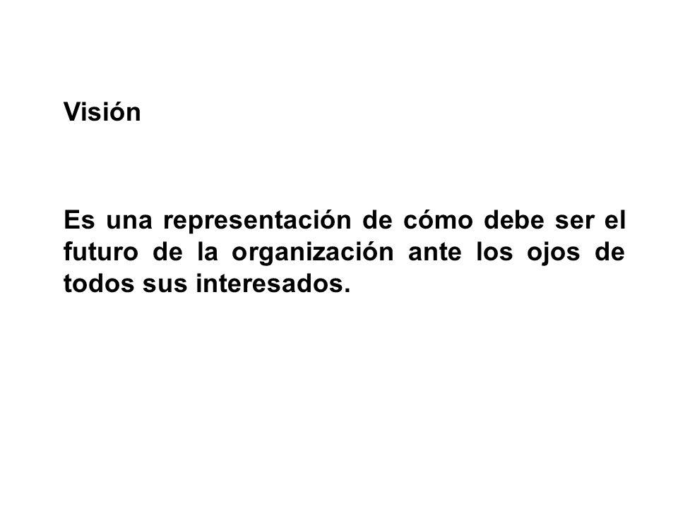 Visión Es una representación de cómo debe ser el futuro de la organización ante los ojos de todos sus interesados.