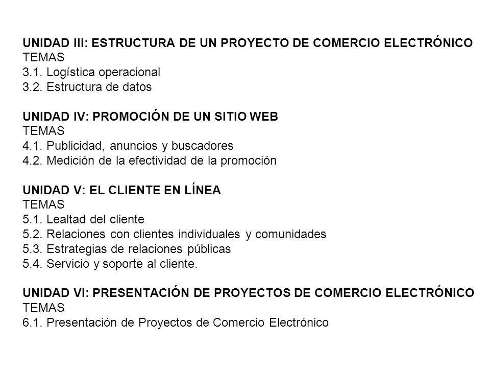 UNIDAD III: ESTRUCTURA DE UN PROYECTO DE COMERCIO ELECTRÓNICO
