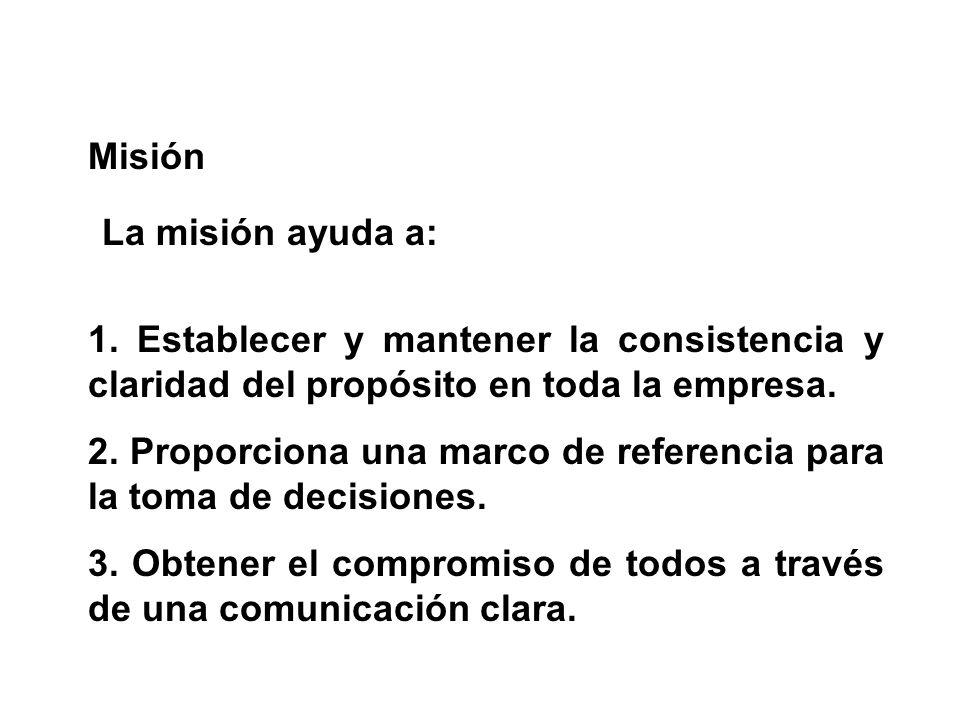 Misión La misión ayuda a: 1. Establecer y mantener la consistencia y claridad del propósito en toda la empresa.