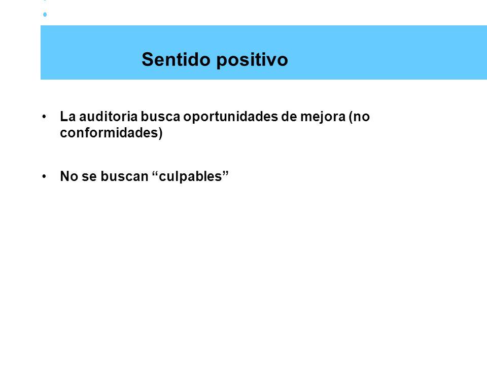Sentido positivo La auditoria busca oportunidades de mejora (no conformidades) No se buscan culpables