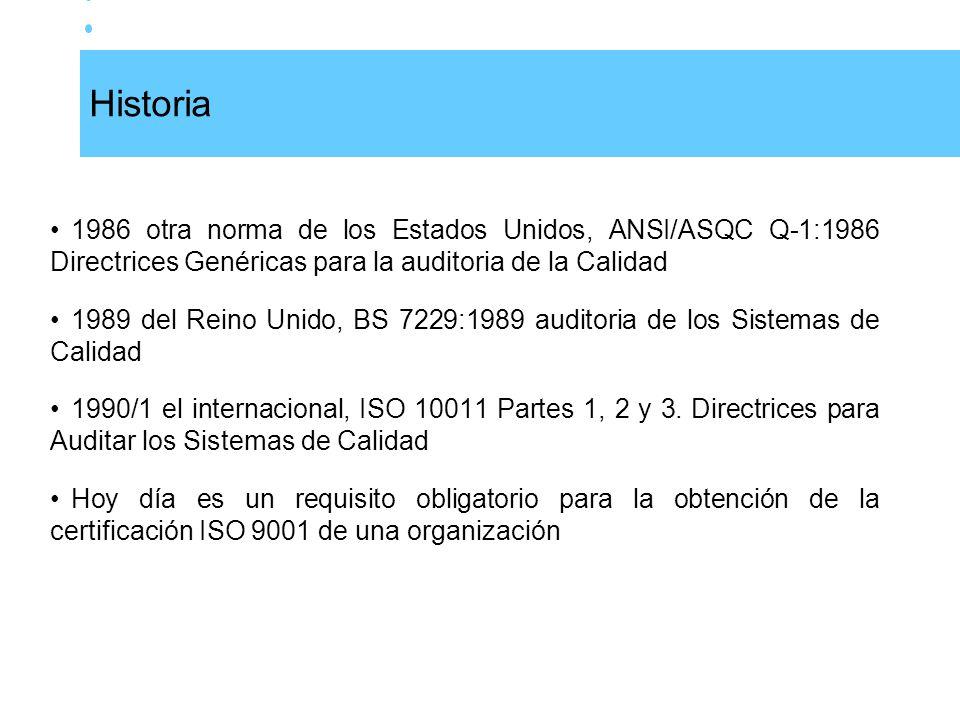 Historia 1986 otra norma de los Estados Unidos, ANSI/ASQC Q-1:1986 Directrices Genéricas para la auditoria de la Calidad.