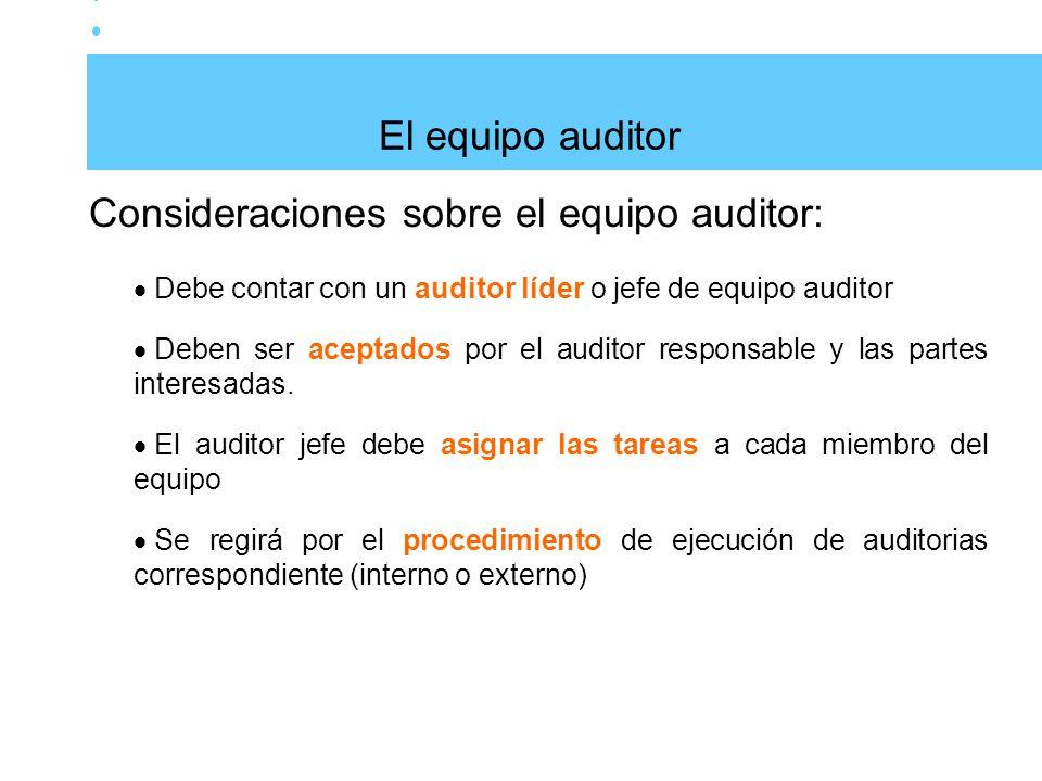 Consideraciones sobre el equipo auditor: