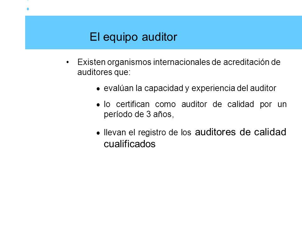 El equipo auditor Existen organismos internacionales de acreditación de auditores que: evalúan la capacidad y experiencia del auditor.