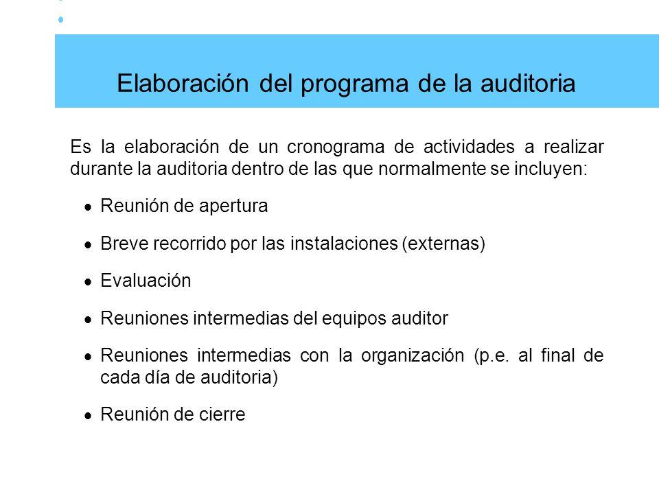 Elaboración del programa de la auditoria