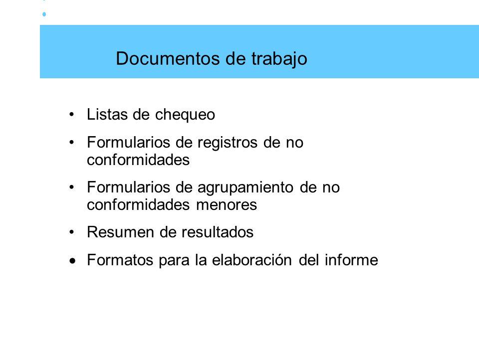 Documentos de trabajo Listas de chequeo