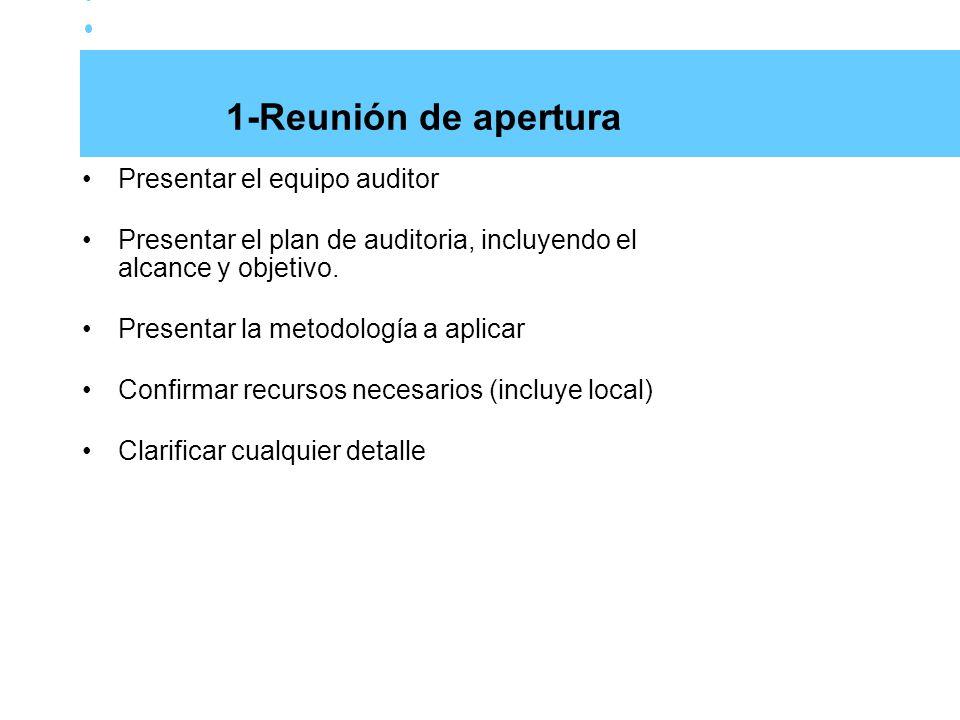 1-Reunión de apertura Presentar el equipo auditor