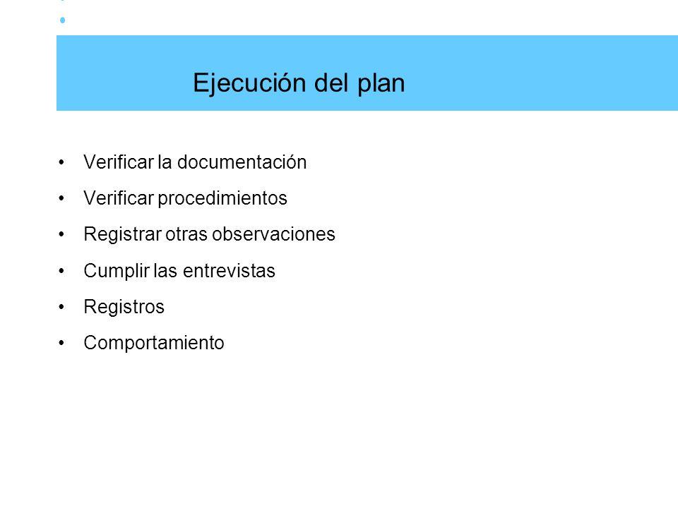 Ejecución del plan Verificar la documentación Verificar procedimientos