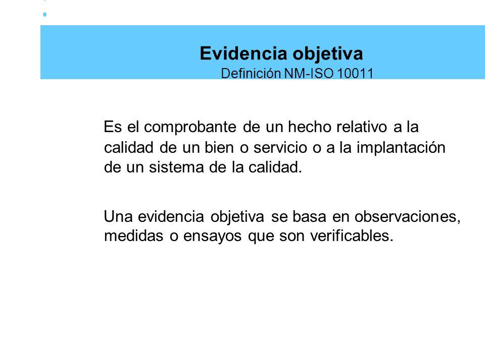 Evidencia objetiva Definición NM-ISO 10011