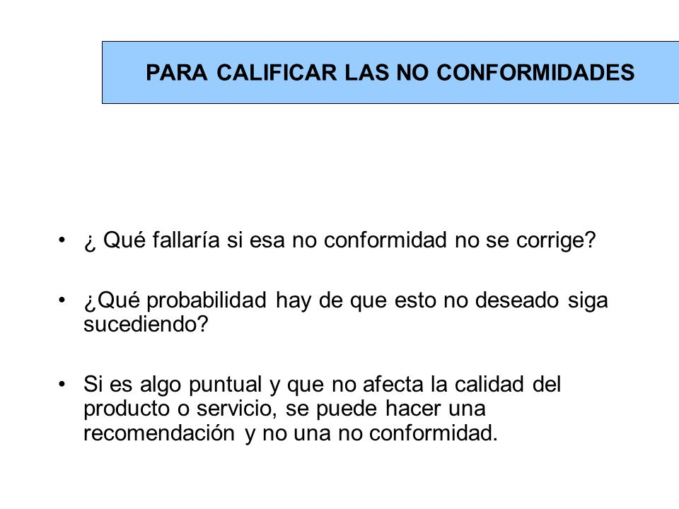 PARA CALIFICAR LAS NO CONFORMIDADES