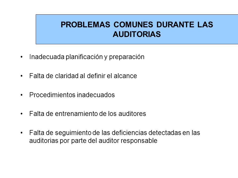 PROBLEMAS COMUNES DURANTE LAS AUDITORIAS