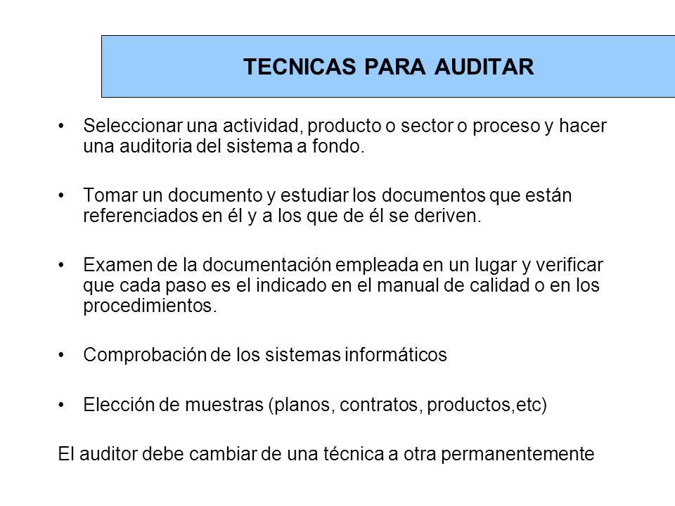 TECNICAS PARA AUDITAR Seleccionar una actividad, producto o sector o proceso y hacer una auditoria del sistema a fondo.