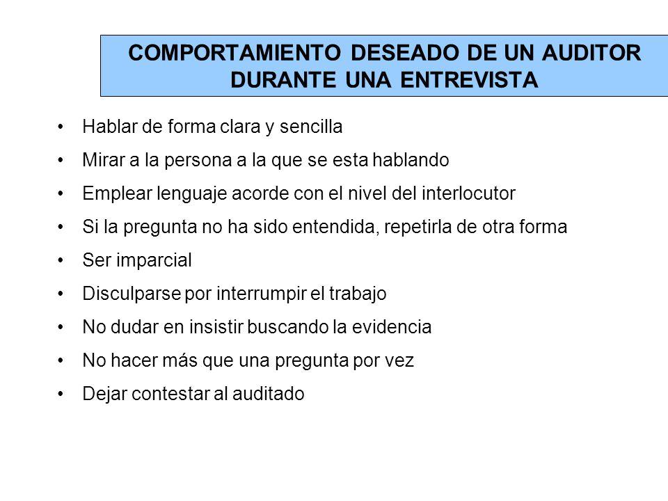 COMPORTAMIENTO DESEADO DE UN AUDITOR DURANTE UNA ENTREVISTA