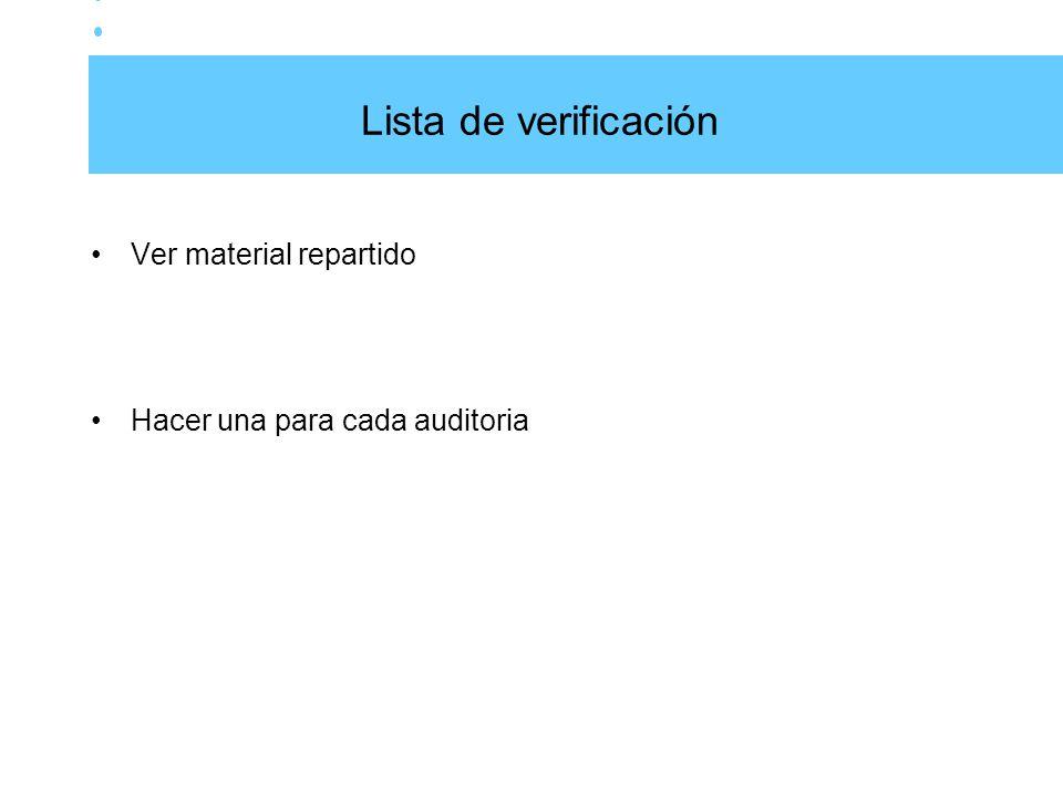 Lista de verificación Ver material repartido