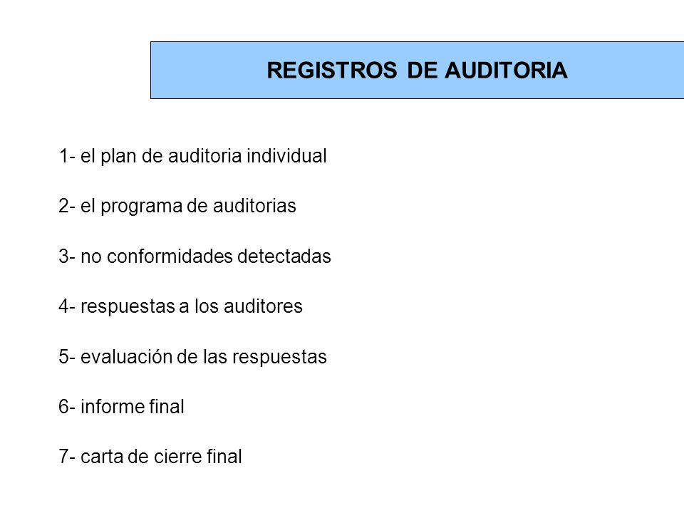 REGISTROS DE AUDITORIA