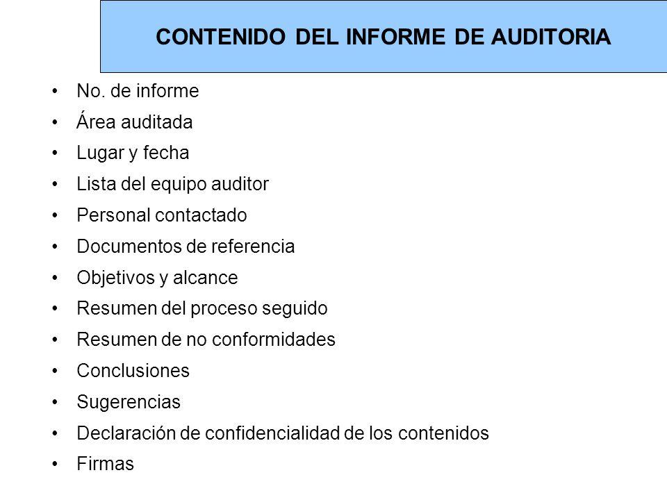 CONTENIDO DEL INFORME DE AUDITORIA
