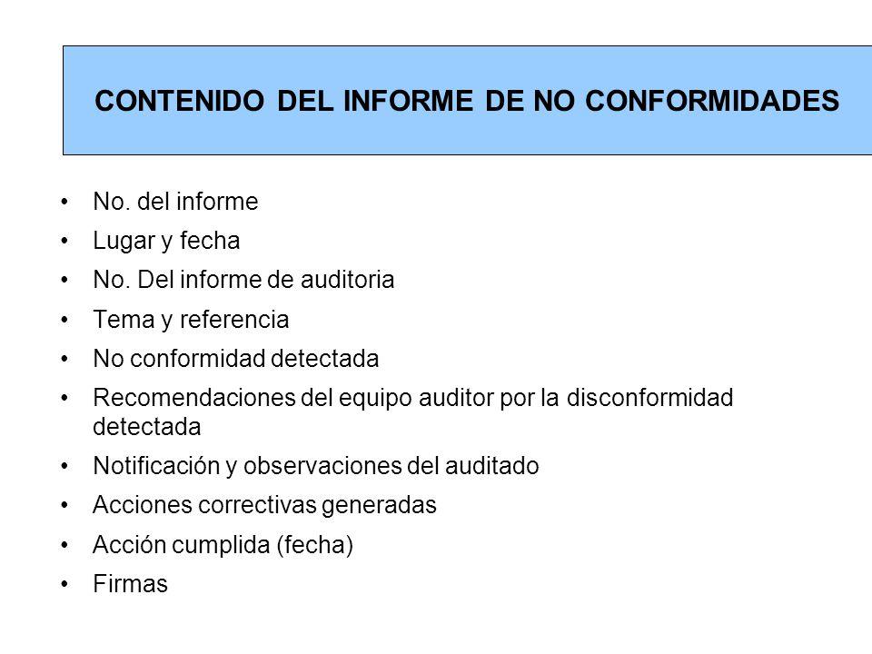CONTENIDO DEL INFORME DE NO CONFORMIDADES
