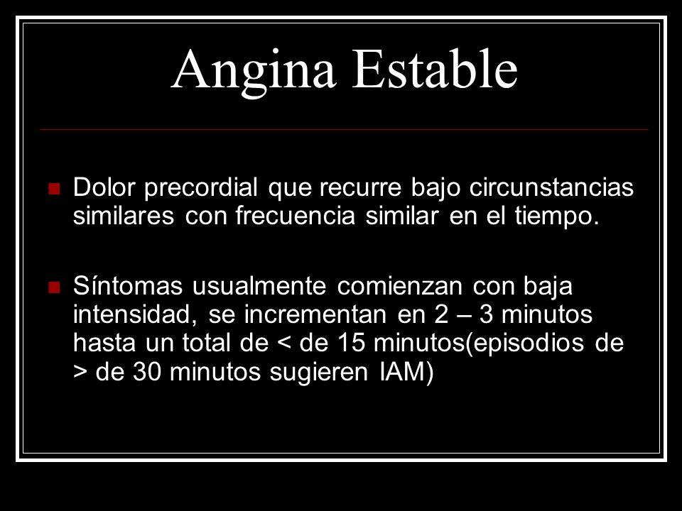Angina Estable Dolor precordial que recurre bajo circunstancias similares con frecuencia similar en el tiempo.