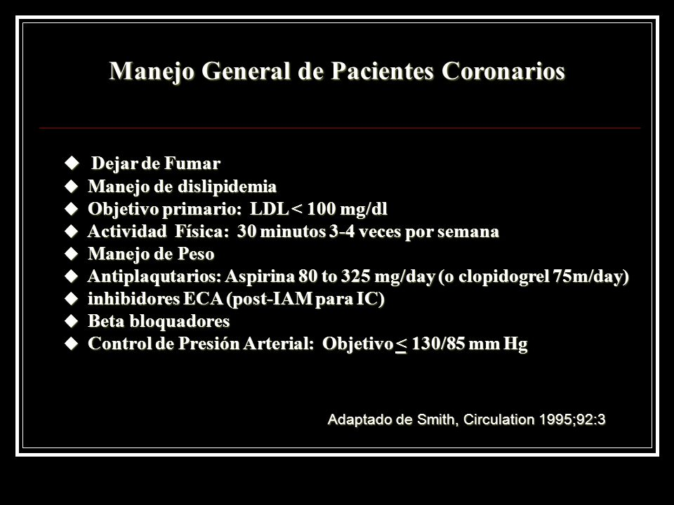 Manejo General de Pacientes Coronarios