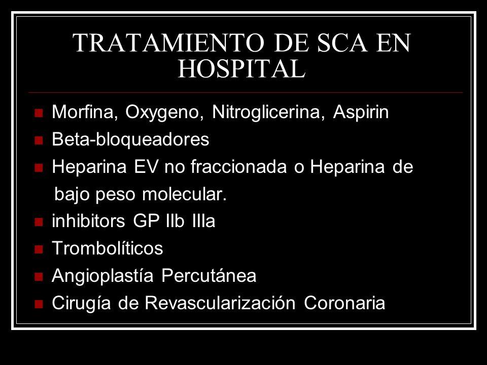 TRATAMIENTO DE SCA EN HOSPITAL