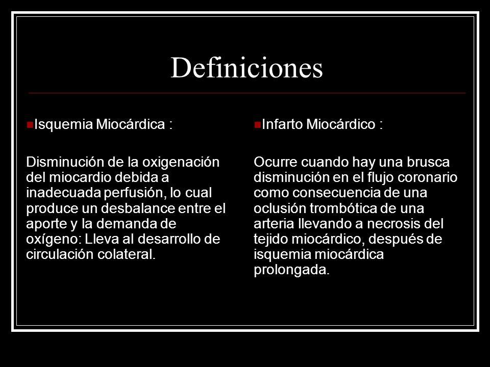 Definiciones Isquemia Miocárdica :