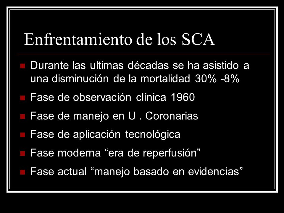 Enfrentamiento de los SCA