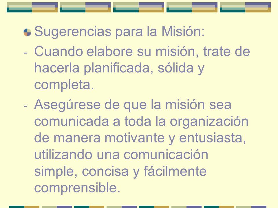 Sugerencias para la Misión:
