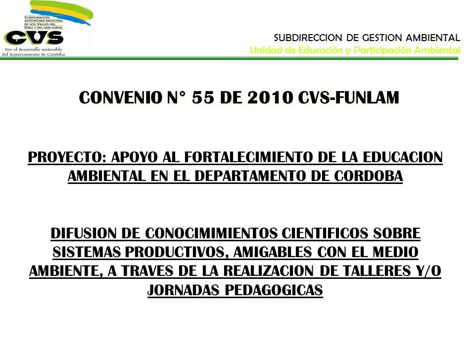 CONVENIO N° 55 DE 2010 CVS-FUNLAM