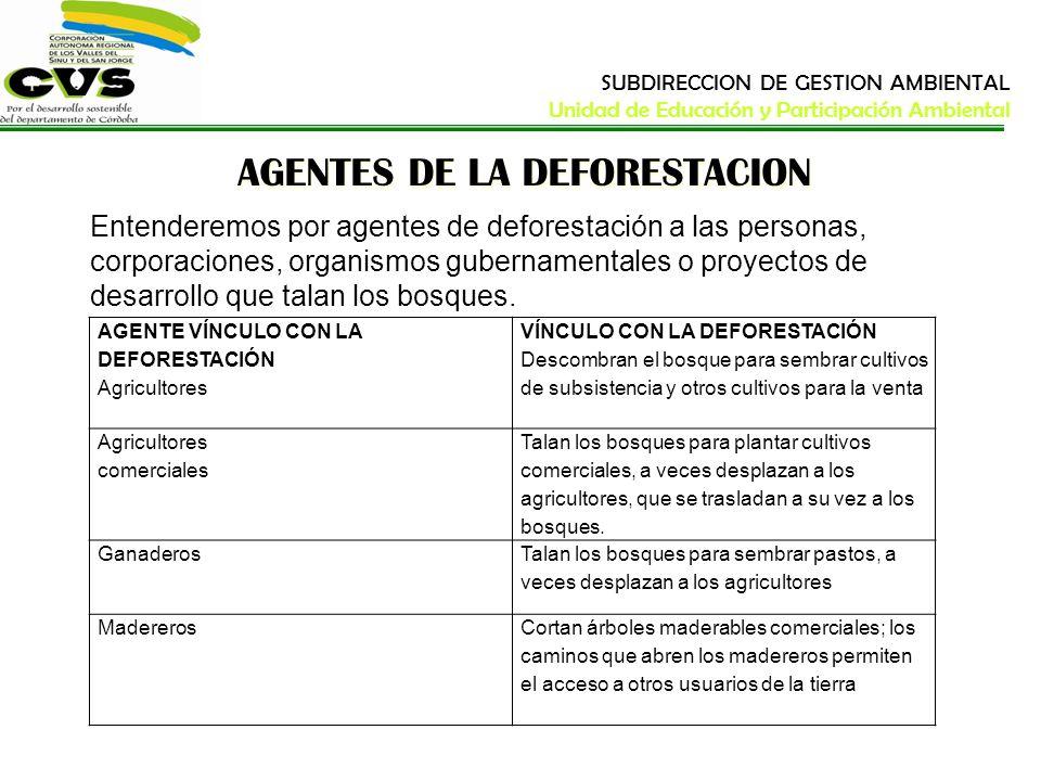 AGENTES DE LA DEFORESTACION