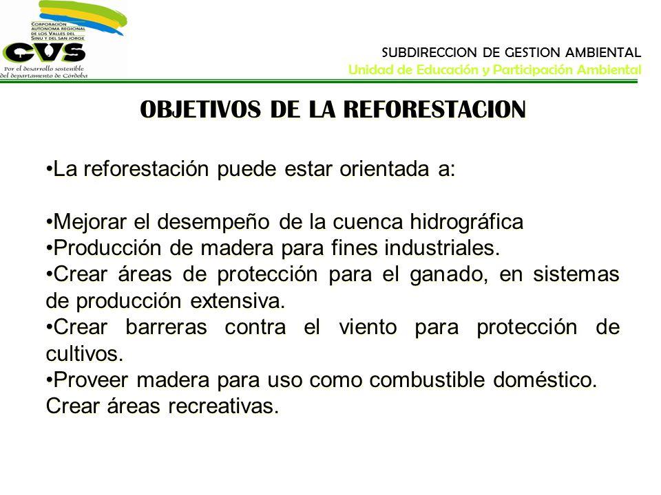 OBJETIVOS DE LA REFORESTACION