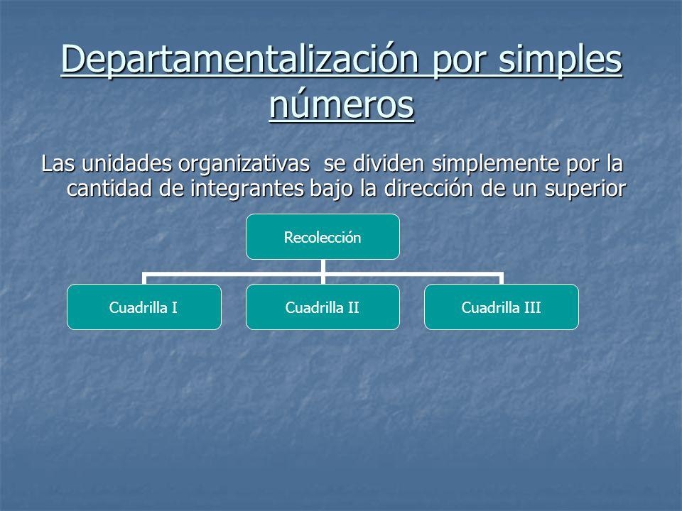 Departamentalización por simples números
