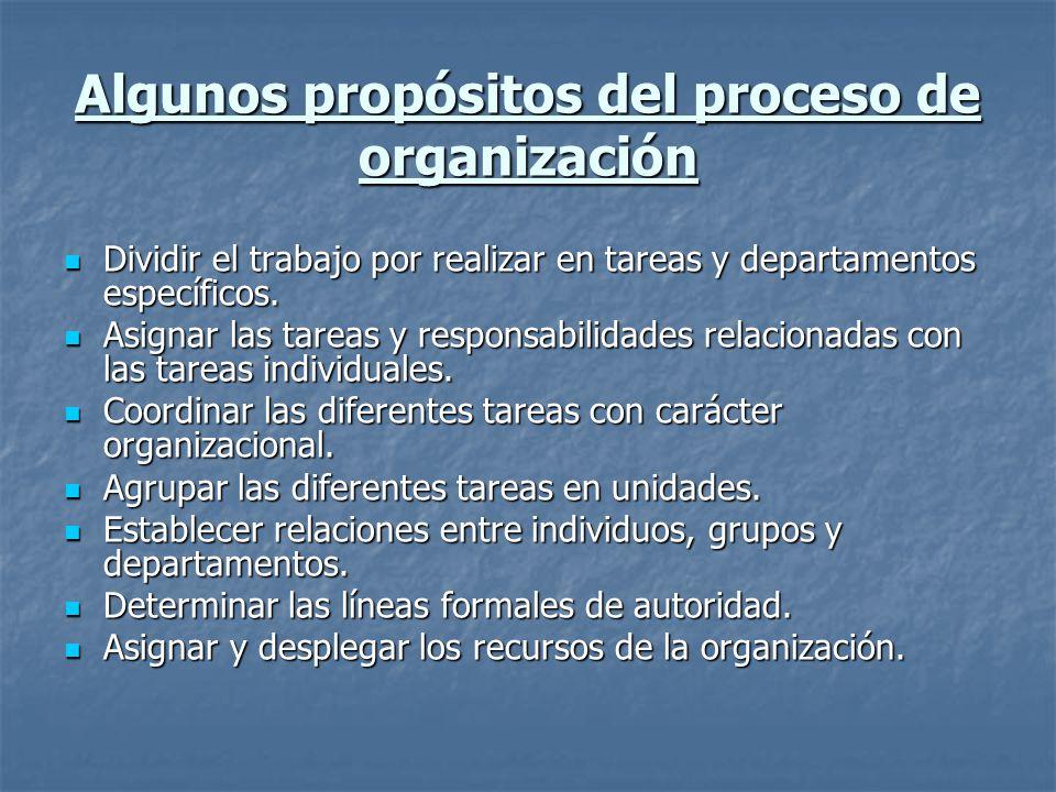 Algunos propósitos del proceso de organización
