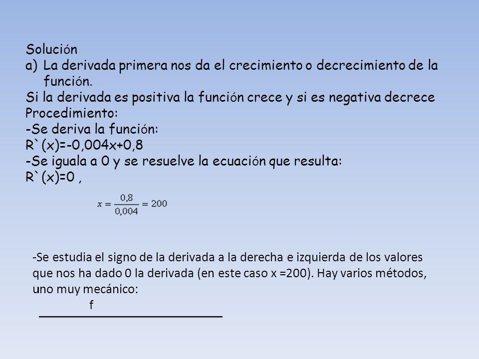 SoluciónLa derivada primera nos da el crecimiento o decrecimiento de la función.