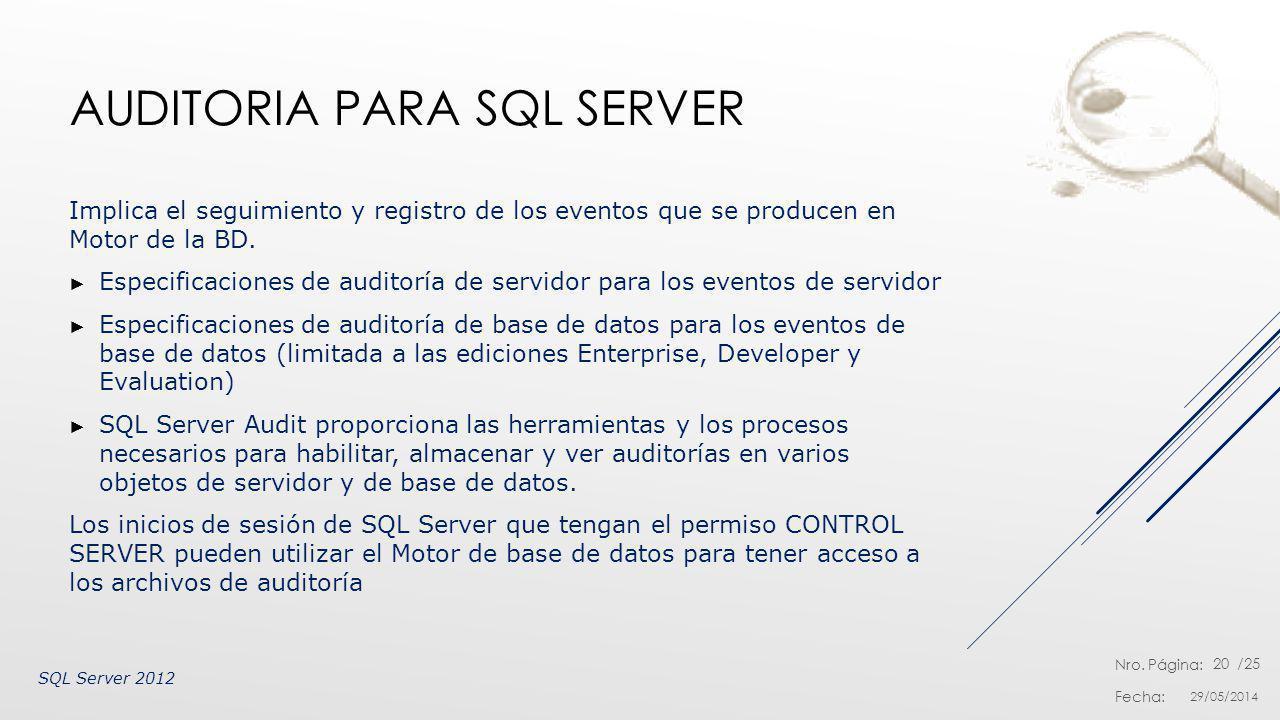 Auditoria para SQL Server
