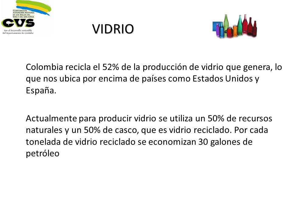 VIDRIO Colombia recicla el 52% de la producción de vidrio que genera, lo que nos ubica por encima de países como Estados Unidos y España.
