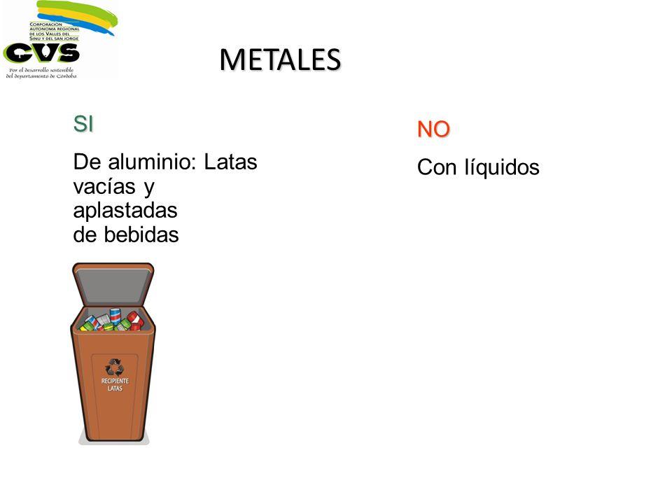 METALES SI NO De aluminio: Latas vacías y aplastadas de bebidas