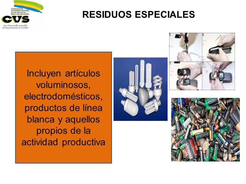RESIDUOS ESPECIALES Incluyen artículos voluminosos, electrodomésticos, productos de línea blanca y aquellos propios de la actividad productiva.