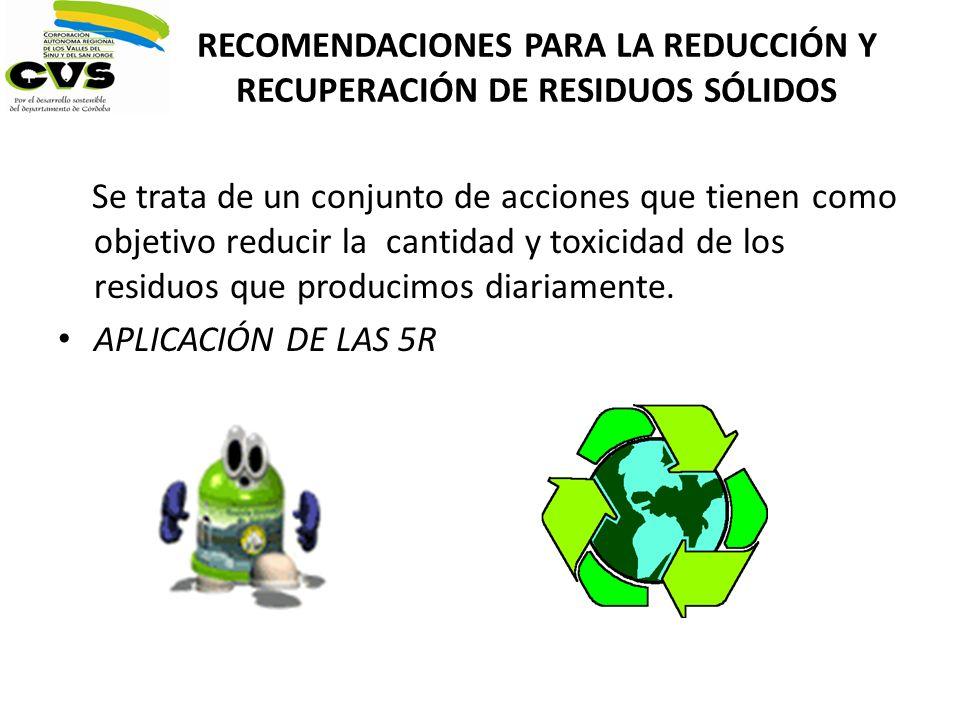 RECOMENDACIONES PARA LA REDUCCIÓN Y RECUPERACIÓN DE RESIDUOS SÓLIDOS