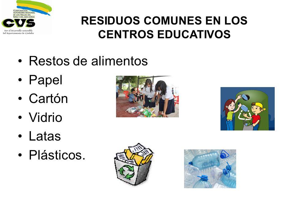 RESIDUOS COMUNES EN LOS CENTROS EDUCATIVOS