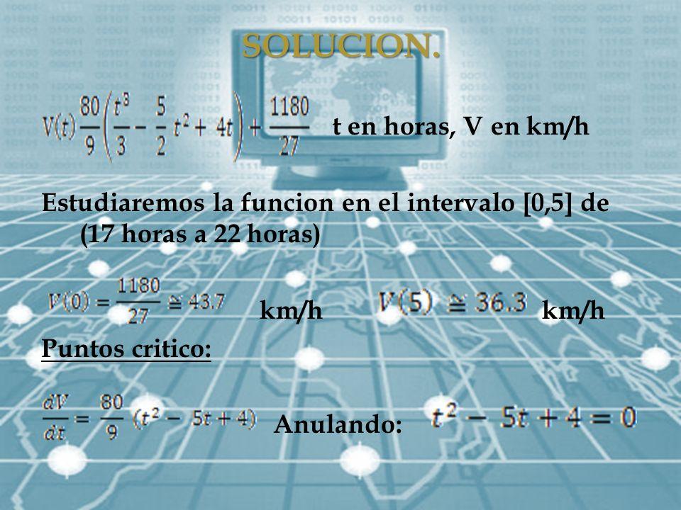 SOLUCION. t en horas, V en km/h
