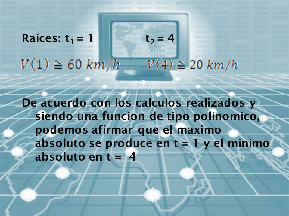 Raíces: t1 = 1 t2 = 4 De acuerdo con los calculos realizados y siendo una funcion de tipo polinomico, podemos afirmar que el maximo absoluto se produce en t = 1 y el minimo absoluto en t = 4