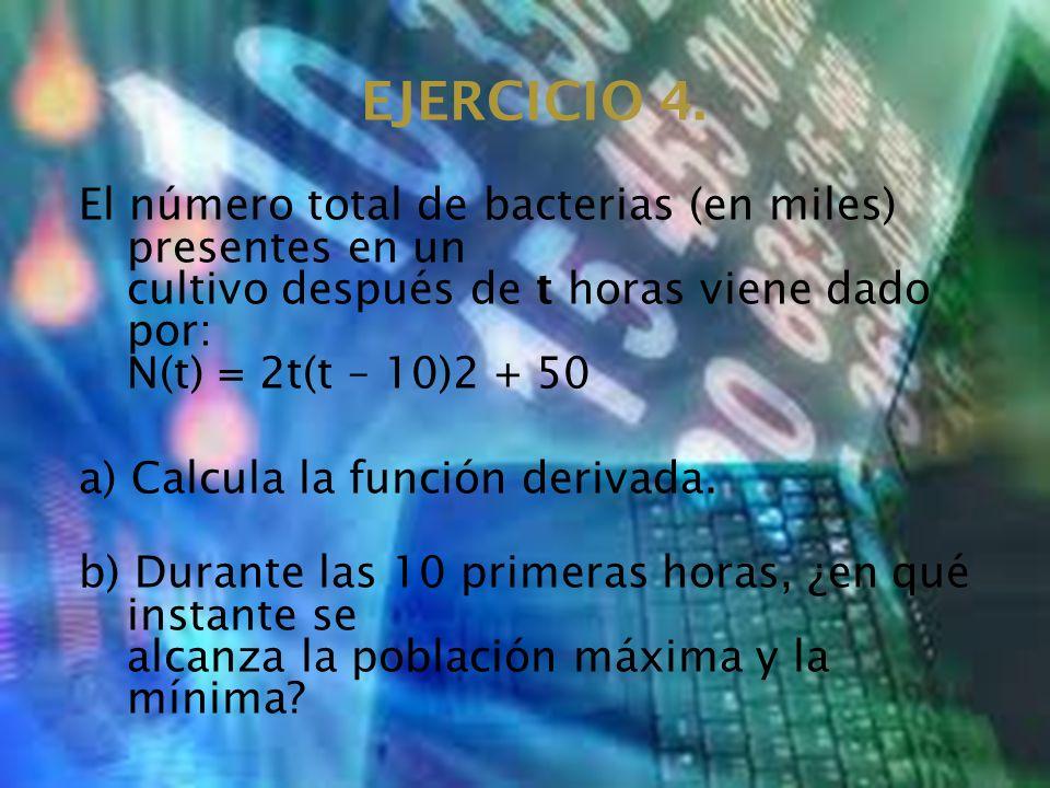 EJERCICIO 4. El número total de bacterias (en miles) presentes en un cultivo después de t horas viene dado por: N(t) = 2t(t – 10)2 + 50.